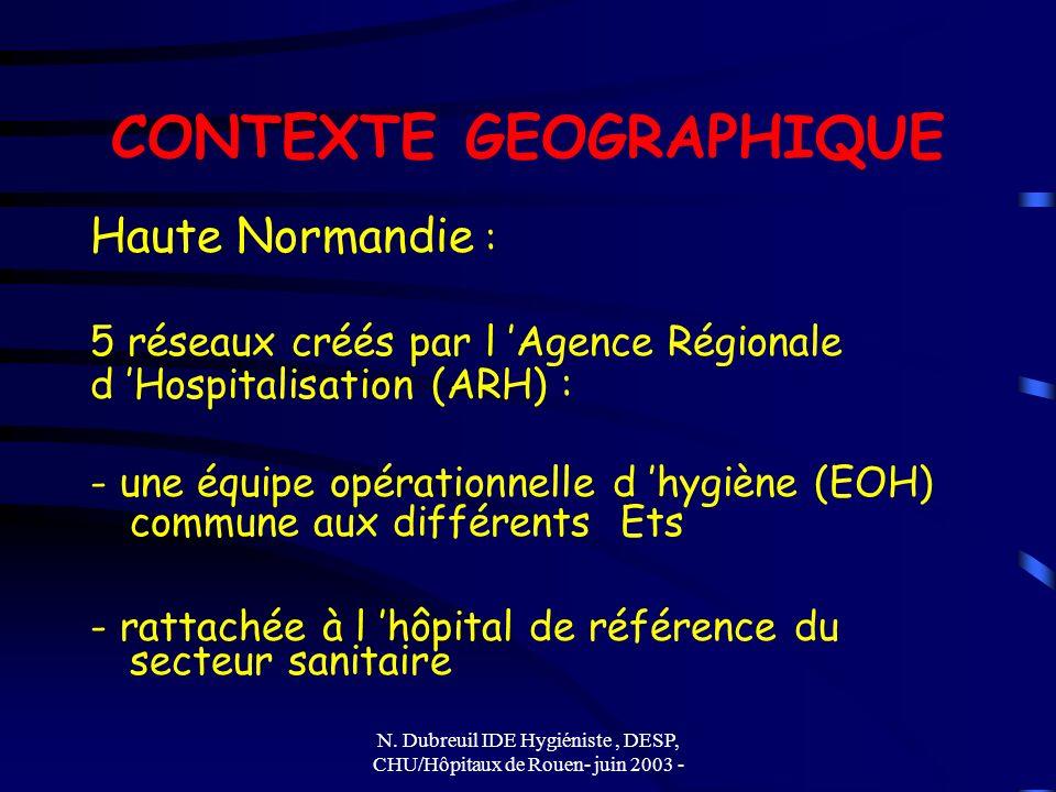 N. Dubreuil IDE Hygiéniste, DESP, CHU/Hôpitaux de Rouen- juin 2003 - CONTEXTE GEOGRAPHIQUE Haute Normandie : 5 réseaux créés par l Agence Régionale d
