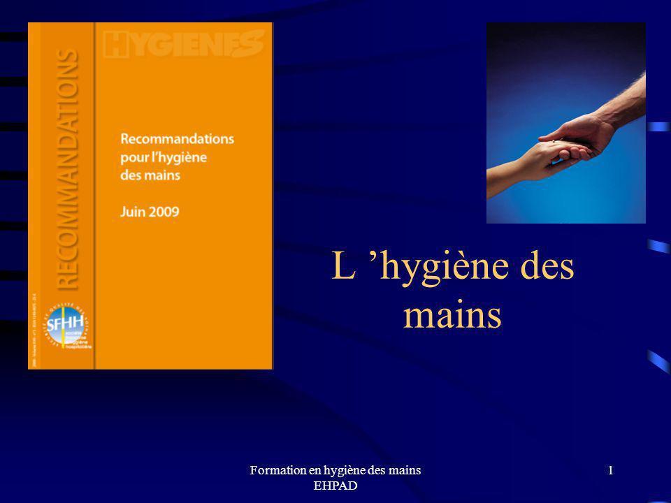 Formation en hygiène des mains EHPAD 22 Pour savoir plus : http://www.sante-sports.gouv.fr/dossiers/sante/mission-mains-propres/mission-mains-propres-2-.html http://www.sante-sports.gouv.fr/dossiers/sante/mission-mains-propres/mission-mains-propres-2-.html recommandations pour lHDM 2009 SFHH : http://www.sfhh.net/telechargement/recommandations_hygienemain2009.pdfhttp://www.sfhh.net/telechargement/recommandations_hygienemain2009.pdf