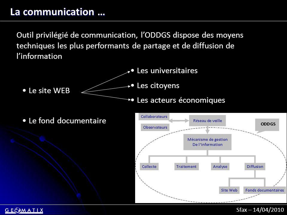 Sfax – 14/04/2010 La communication … Outil privilégié de communication, lODDGS dispose des moyens techniques les plus performants de partage et de dif