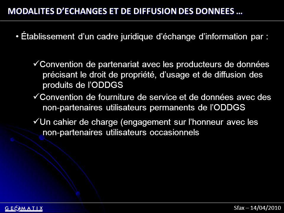 Sfax – 14/04/2010 MODALITES DECHANGES ET DE DIFFUSION DES DONNEES … Établissement dun cadre juridique déchange dinformation par : Convention de parten