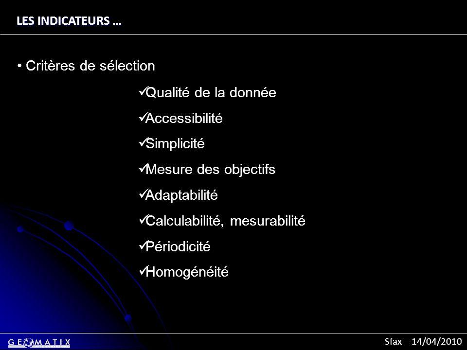 Sfax – 14/04/2010 LES INDICATEURS … Critères de sélection Qualité de la donnée Accessibilité Simplicité Mesure des objectifs Adaptabilité Calculabilit