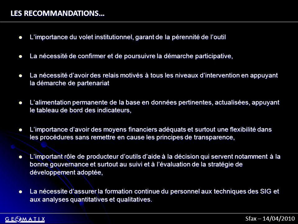 Sfax – 14/04/2010 LES RECOMMANDATIONS… Limportance du volet institutionnel, garant de la pérennité de loutil Limportance du volet institutionnel, gara
