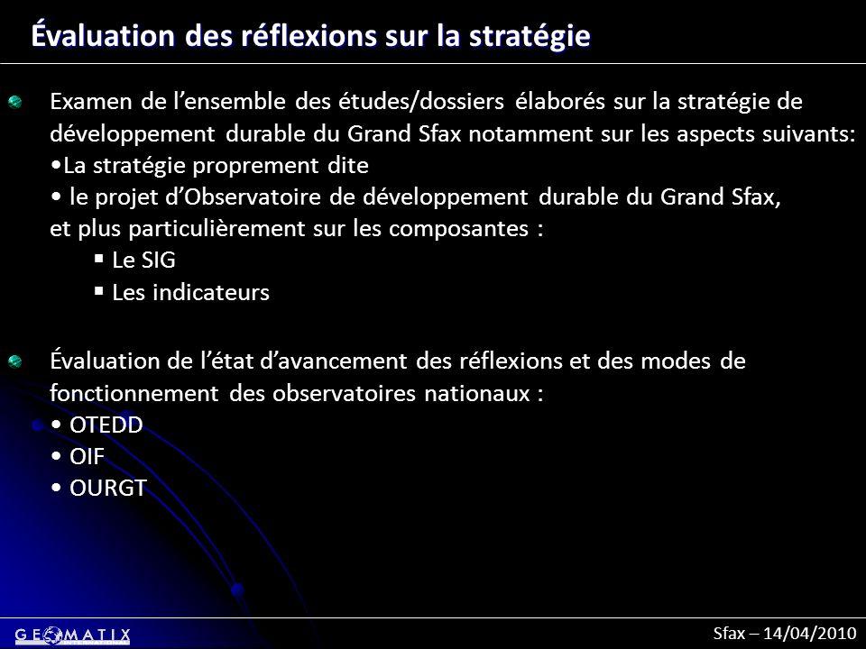 Sfax – 14/04/2010 Évaluation des réflexions sur la stratégie Examen de lensemble des études/dossiers élaborés sur la stratégie de développement durabl