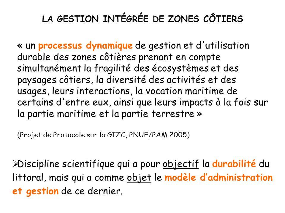 Phase I : IDENTIFICATION PRELIMINAIRE Phase II : PREPARATION Phase III : MISE EN OEUVRE Etape 0 Conditions dinitialisation du processus GIZC Etape 1 Faisabilité de mise en œuvre dun processus GIZC Etape 2 Bilan socio-environnemental Etape 3 Futurs souhaitables et possibles Etape 4 Elaboration du schéma de gestion Etape 5 Institutionnalisation Etape 6 Application du schéma de gestion Etape 7 Evaluation et ajustement 3 Qualification de lespace côtier 4 Indicateurs et indices 5 Systèmes dinformation 6 Orientations Propositions Objectifs 2 Définition dunités cohérentes de gestion 1 Analyse de la problématique