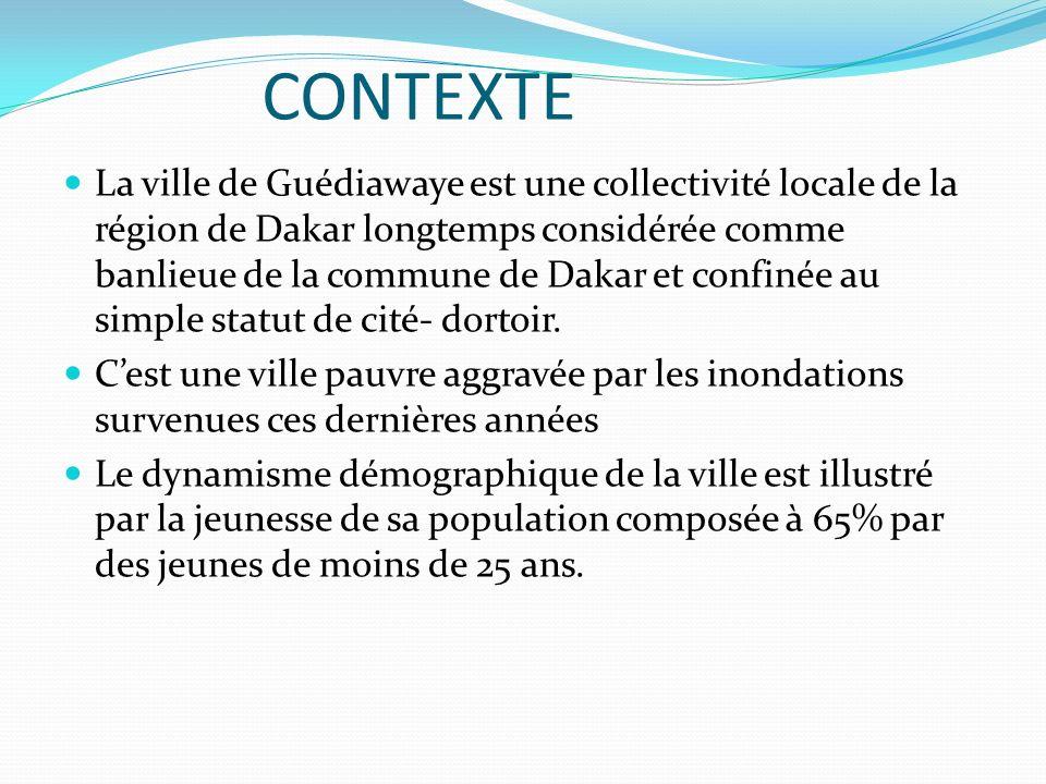 CONTEXTE La ville de Guédiawaye est une collectivité locale de la région de Dakar longtemps considérée comme banlieue de la commune de Dakar et confin