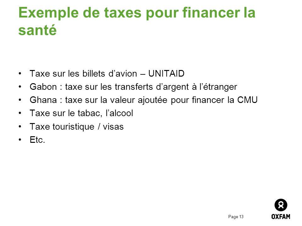 Page 13 Exemple de taxes pour financer la santé Taxe sur les billets davion – UNITAID Gabon : taxe sur les transferts dargent à létranger Ghana : taxe