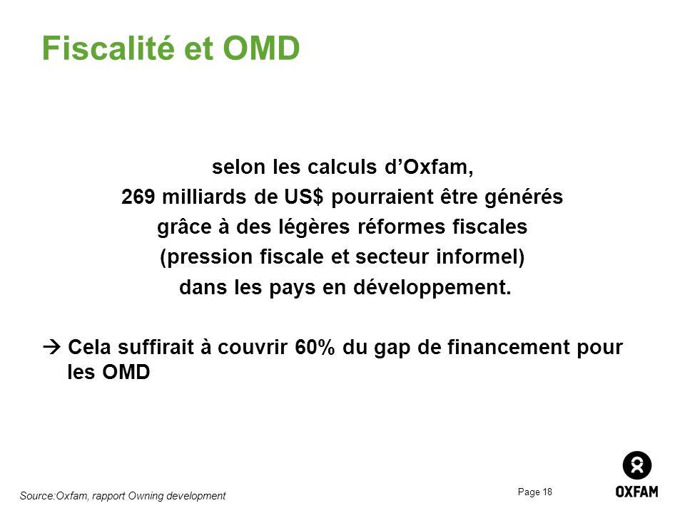 Page 18 Fiscalité et OMD selon les calculs dOxfam, 269 milliards de US$ pourraient être générés grâce à des légères réformes fiscales (pression fiscal