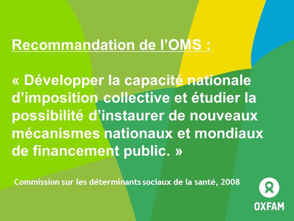 Recommandation de lOMS : « Développer la capacité nationale dimposition collective et étudier la possibilité dinstaurer de nouveaux mécanismes nationa