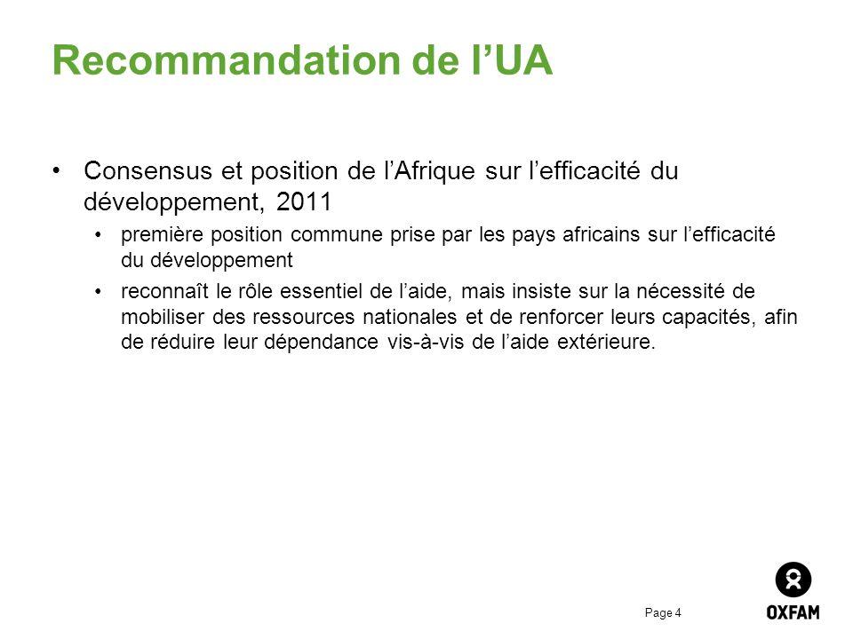 Page 4 Recommandation de lUA Consensus et position de lAfrique sur lefficacité du développement, 2011 première position commune prise par les pays afr