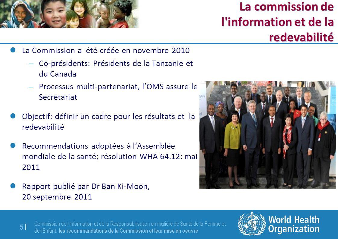 Commission de lInformation et de la Responsabilisation en matière de Santé de la Femme et de lEnfant: les recommandations de la Commission et leur mise en oeuvre 5 |5 | La Commission a été créée en novembre 2010 – Co-présidents: Présidents de la Tanzanie et du Canada – Processus multi-partenariat, lOMS assure le Secretariat Objectif: définir un cadre pour les résultats et la redevabilité Recommendations adoptées à lAssemblée mondiale de la santé; résolution WHA 64.12: mai 2011 Rapport publié par Dr Ban Ki-Moon, 20 septembre 2011 La commission de l information et de la redevabilité