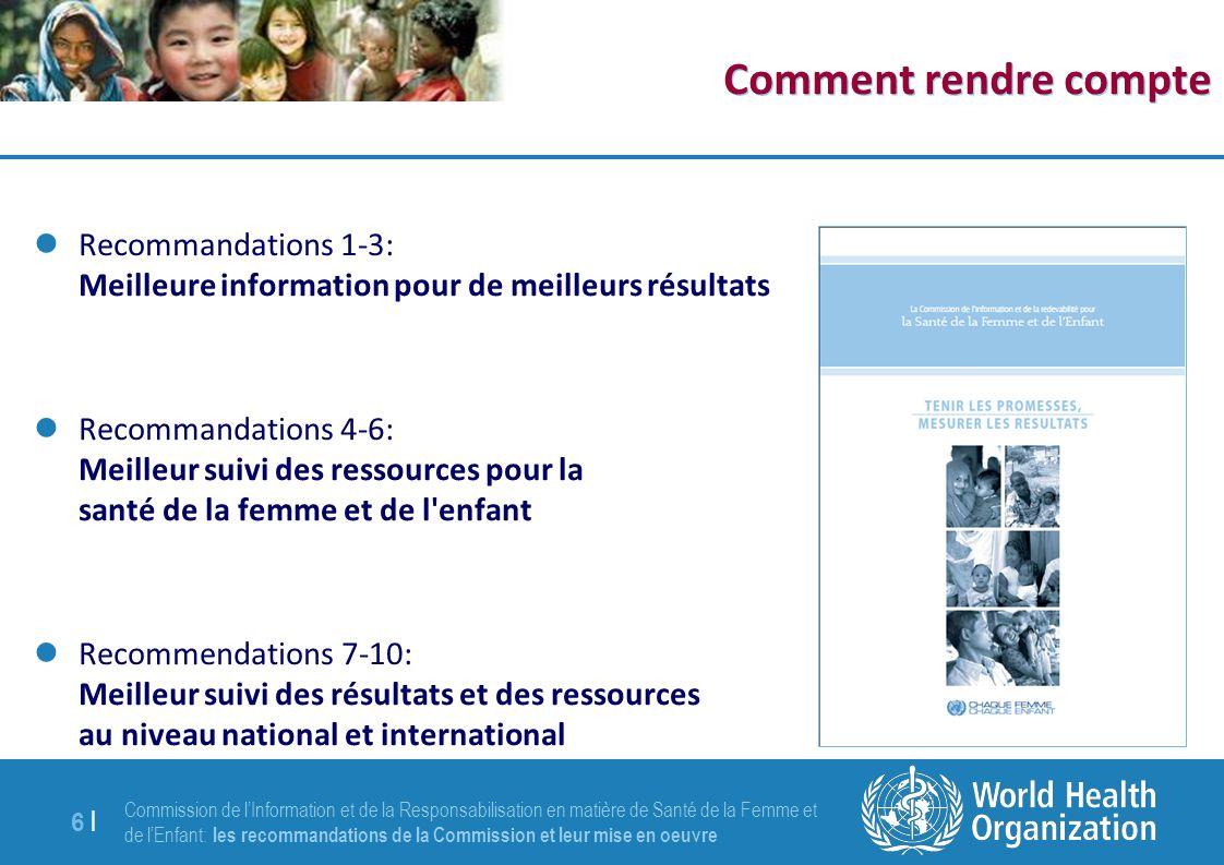 Commission de lInformation et de la Responsabilisation en matière de Santé de la Femme et de lEnfant: les recommandations de la Commission et leur mise en oeuvre 6 |6 | Comment rendre compte Recommandations 1-3: Meilleure information pour de meilleurs résultats Recommandations 4-6: Meilleur suivi des ressources pour la santé de la femme et de l enfant Recommendations 7-10: Meilleur suivi des résultats et des ressources au niveau national et international