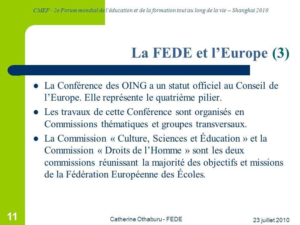 CMEF - 2e Forum mondial de léducation et de la formation tout au long de la vie – Shanghai 2010 23 juillet 2010 Catherine Othaburu - FEDE 11 La FEDE e