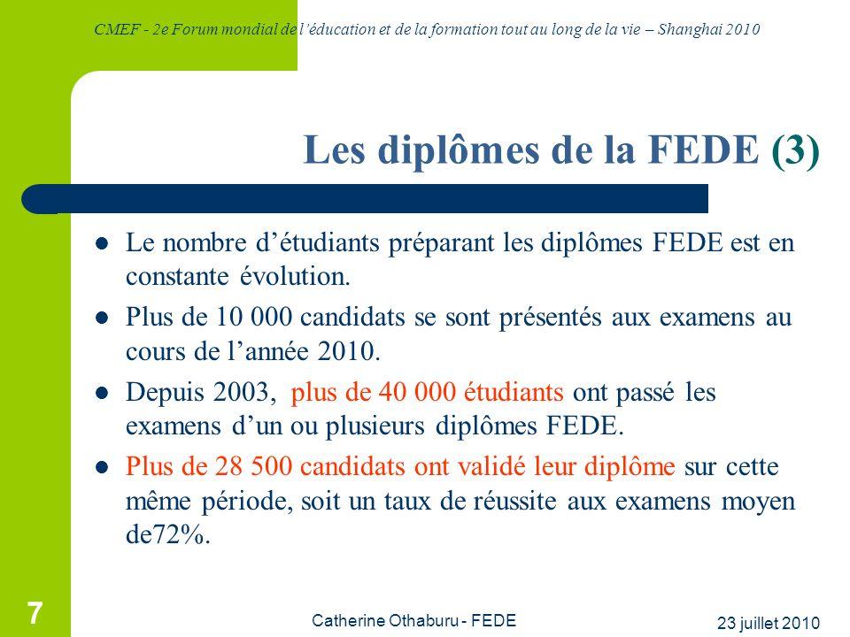 CMEF - 2e Forum mondial de léducation et de la formation tout au long de la vie – Shanghai 2010 23 juillet 2010 Catherine Othaburu - FEDE 7 Les diplôm