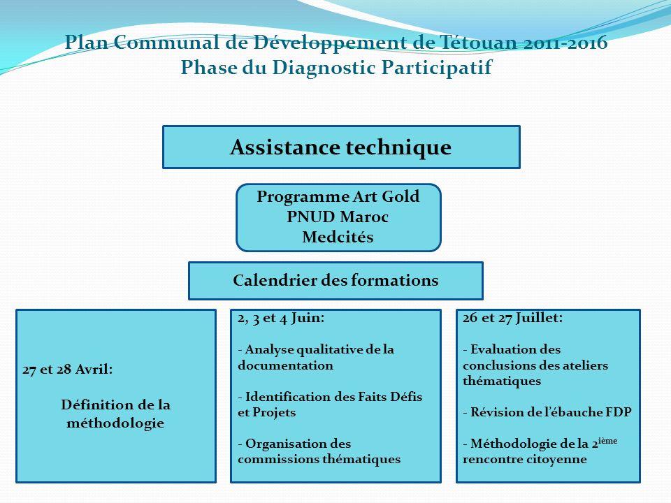 Plan Communal de Développement de Tétouan 2011-2016 Phase du Diagnostic Participatif Assistance technique Programme Art Gold PNUD Maroc Medcités Calen