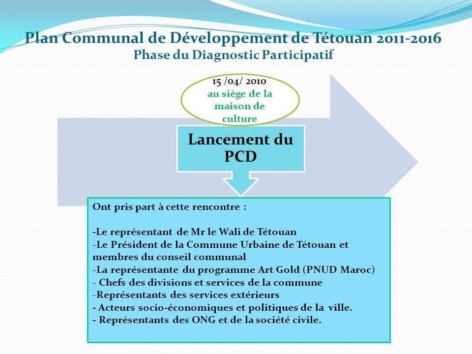 Plan Communal de Développement de Tétouan 2011-2016 Phase du Diagnostic Participatif Lancement du PCD 15 /04/ 2010 au siège de la maison de culture On