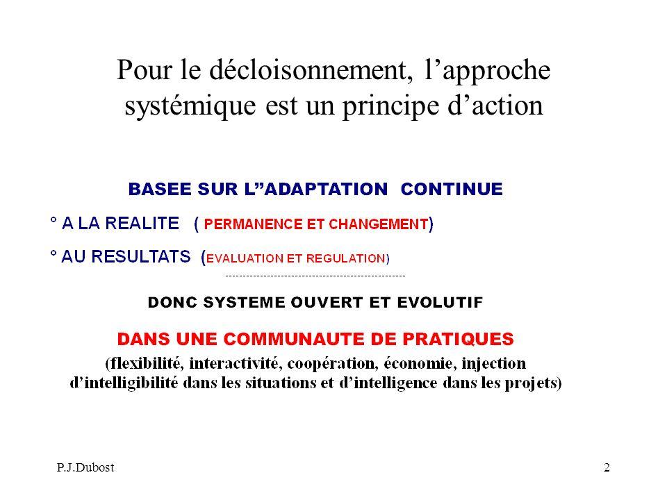 P.J.Dubost2 Pour le décloisonnement, lapproche systémique est un principe daction