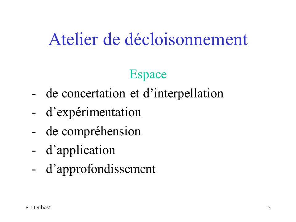 P.J.Dubost5 Atelier de décloisonnement Espace - de concertation et dinterpellation - dexpérimentation - de compréhension - dapplication - dapprofondissement