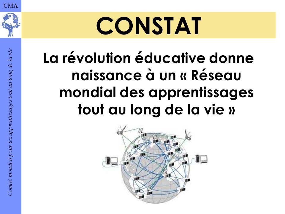 Comité mondial pour les apprentissages tout au long de la vie CMA CONSTAT La révolution éducative donne naissance à un « Réseau mondial des apprentissages tout au long de la vie »