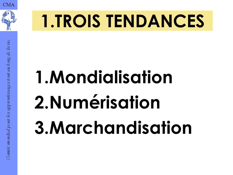 Comité mondial pour les apprentissages tout au long de la vie CMA 1.TROIS TENDANCES 1.Mondialisation 2.Numérisation 3.Marchandisation