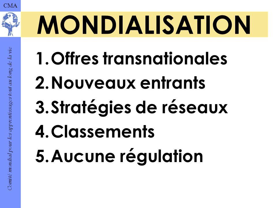 Comité mondial pour les apprentissages tout au long de la vie CMA MONDIALISATION 1.Offres transnationales 2.Nouveaux entrants 3.Stratégies de réseaux 4.Classements 5.Aucune régulation