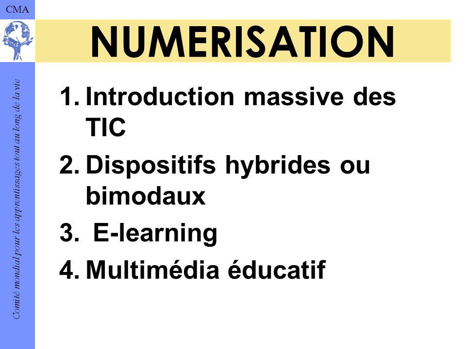 Comité mondial pour les apprentissages tout au long de la vie CMA NUMERISATION 1.Introduction massive des TIC 2.Dispositifs hybrides ou bimodaux 3.