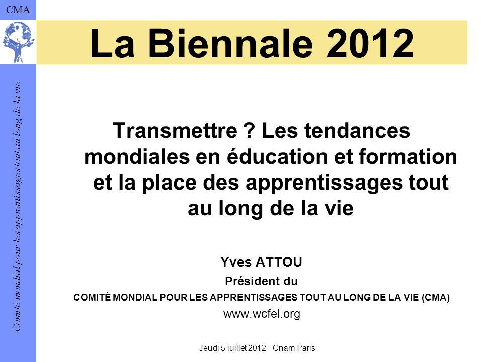 Comité mondial pour les apprentissages tout au long de la vie CMA La Biennale 2012 Transmettre .