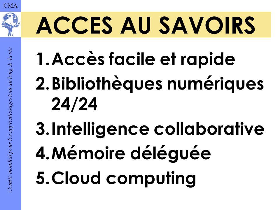 Comité mondial pour les apprentissages tout au long de la vie CMA ACCES AU SAVOIRS 1.Accès facile et rapide 2.Bibliothèques numériques 24/24 3.Intelligence collaborative 4.Mémoire déléguée 5.Cloud computing