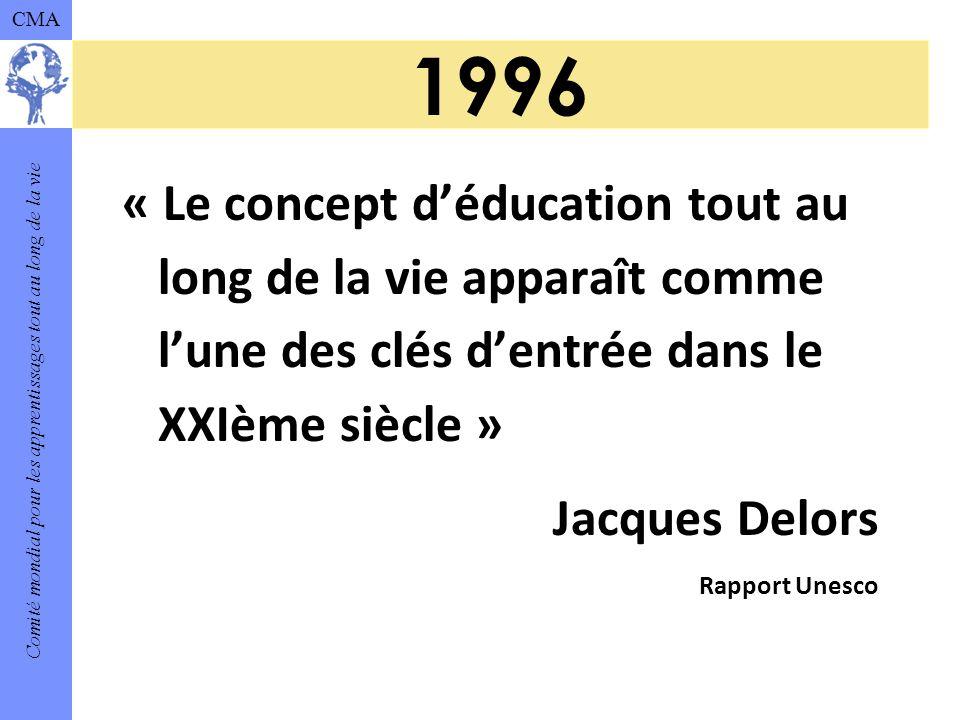 Comité mondial pour les apprentissages tout au long de la vie CMA 1996 « Le concept déducation tout au long de la vie apparaît comme lune des clés dentrée dans le XXIème siècle » Jacques Delors Rapport Unesco