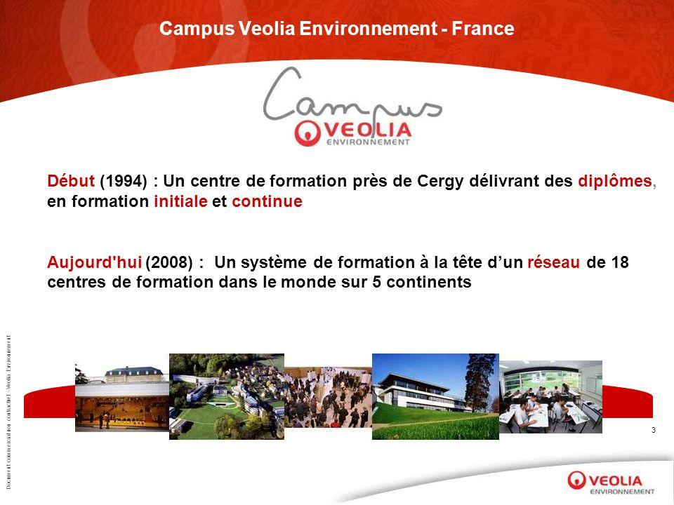 Document commercial non contractuel –Veolia Environnement 3 Campus Veolia Environnement - France Début (1994) : Un centre de formation près de Cergy d