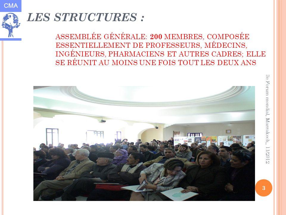 CMA 3 3e Forum mondial, Marrakech,, 11/2012 LES STRUCTURES : ASSEMBLÉE GÉNÉRALE: 200 MEMBRES, COMPOSÉE ESSENTIELLEMENT DE PROFESSEURS, MÉDECINS, INGÉNIEURS, PHARMACIENS ET AUTRES CADRES; ELLE SE RÉUNIT AU MOINS UNE FOIS TOUT LES DEUX ANS