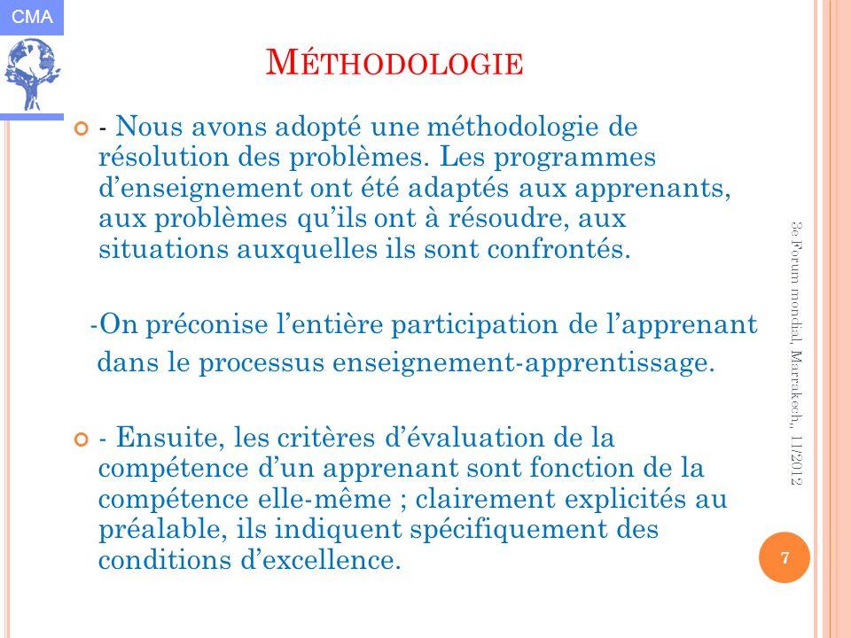 CMA 7 3e Forum mondial, Marrakech,, 11/2012 M ÉTHODOLOGIE - Nous avons adopté une méthodologie de résolution des problèmes. Les programmes denseigneme