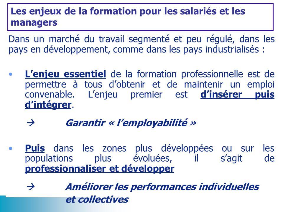 Les enjeux de la formation pour les salariés et les managers Dans un marché du travail segmenté et peu régulé, dans les pays en développement, comme d