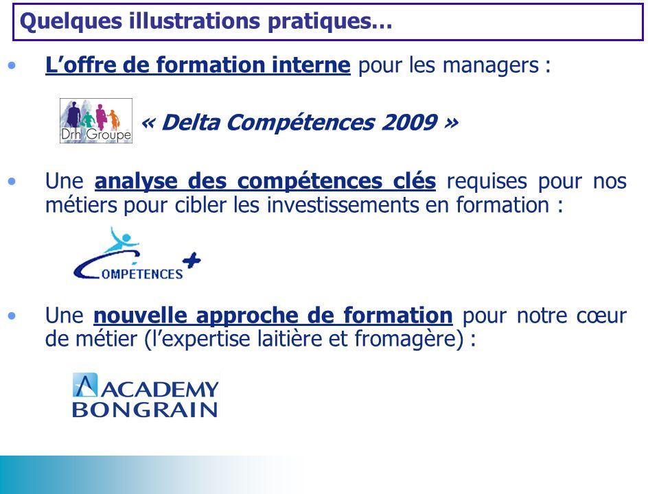 Quelques illustrations pratiques… Loffre de formation interne pour les managers : « Delta Compétences 2009 » Une analyse des compétences clés requises