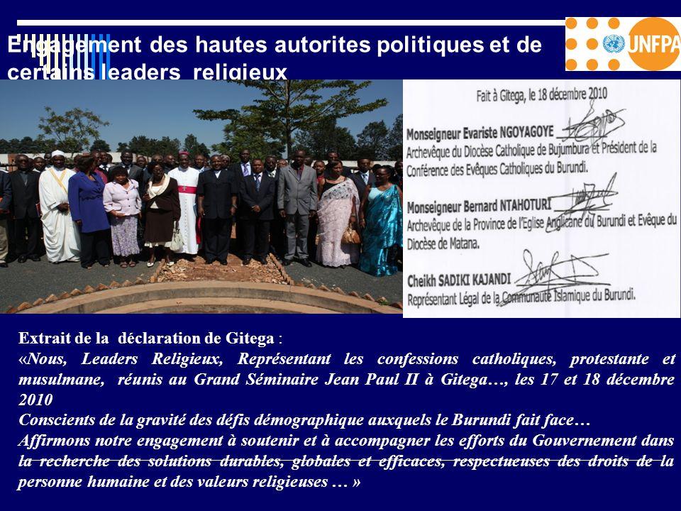 Engagement des hautes autorites politiques et de certains leaders religieux Extrait de la déclaration de Gitega : «Nous, Leaders Religieux, Représenta