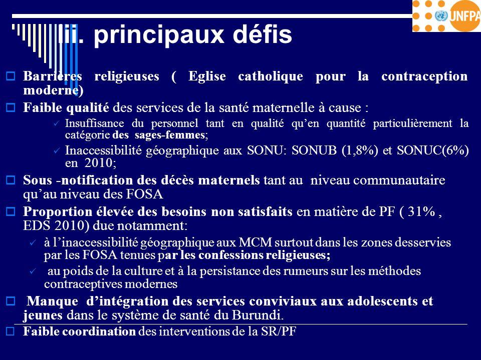 Iii. principaux défis Barrières religieuses ( Eglise catholique pour la contraception moderne) Faible qualité des services de la santé maternelle à ca