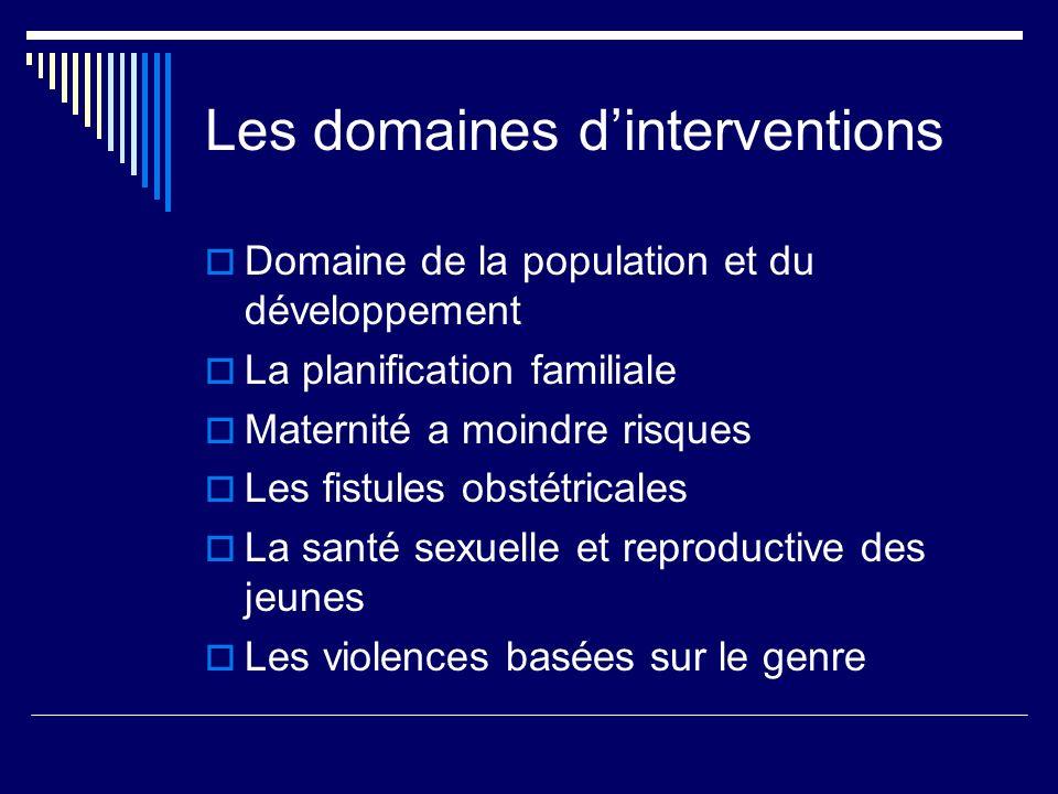 Les domaines dinterventions Domaine de la population et du développement La planification familiale Maternité a moindre risques Les fistules obstétric