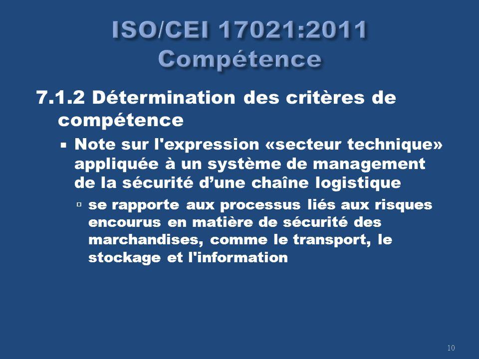10 7.1.2 Détermination des critères de compétence Note sur l'expression «secteur technique» appliquée à un système de management de la sécurité dune c