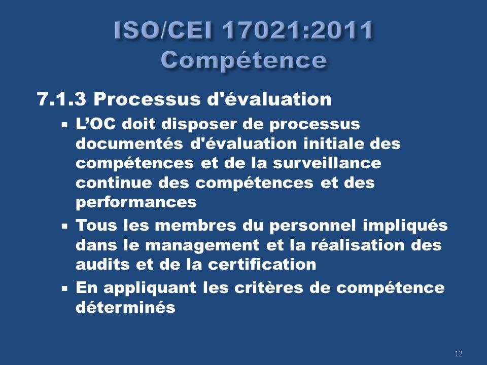 12 7.1.3 Processus d'évaluation LOC doit disposer de processus documentés d'évaluation initiale des compétences et de la surveillance continue des com