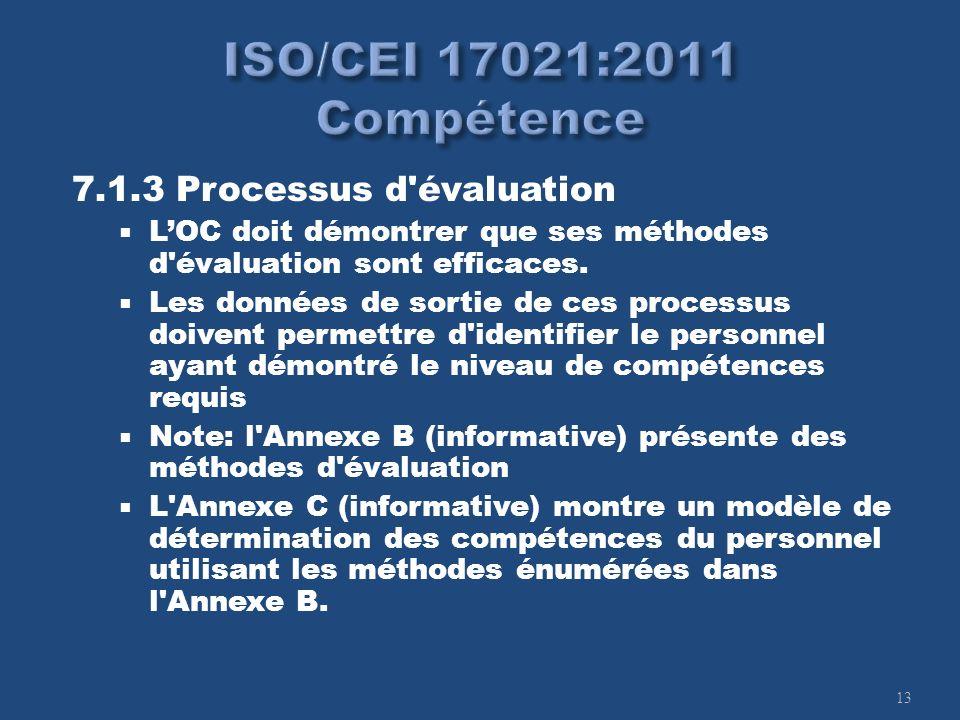 13 7.1.3 Processus d'évaluation LOC doit démontrer que ses méthodes d'évaluation sont efficaces. Les données de sortie de ces processus doivent permet