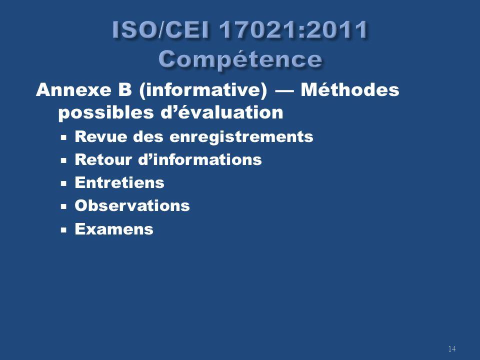 14 Annexe B (informative) Méthodes possibles dévaluation Revue des enregistrements Retour dinformations Entretiens Observations Examens