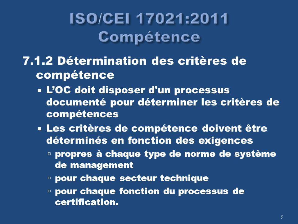 5 7.1.2 Détermination des critères de compétence LOC doit disposer d'un processus documenté pour déterminer les critères de compétences Les critères d