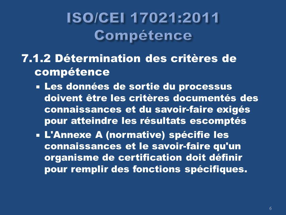 6 7.1.2 Détermination des critères de compétence Les données de sortie du processus doivent être les critères documentés des connaissances et du savoi