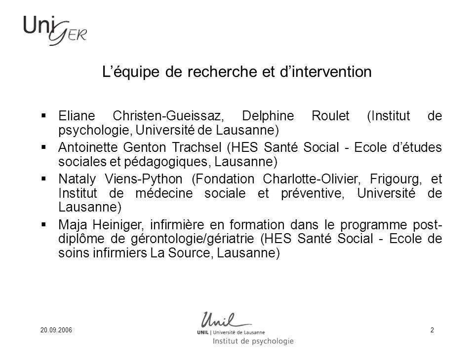 20.09.20062 Léquipe de recherche et dintervention Eliane Christen-Gueissaz, Delphine Roulet (Institut de psychologie, Université de Lausanne) Antoinet