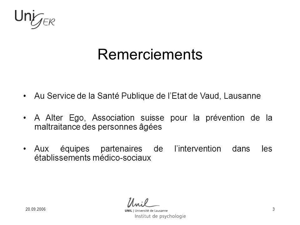 20.09.20063 Remerciements Au Service de la Santé Publique de lEtat de Vaud, Lausanne A Alter Ego, Association suisse pour la prévention de la maltrait