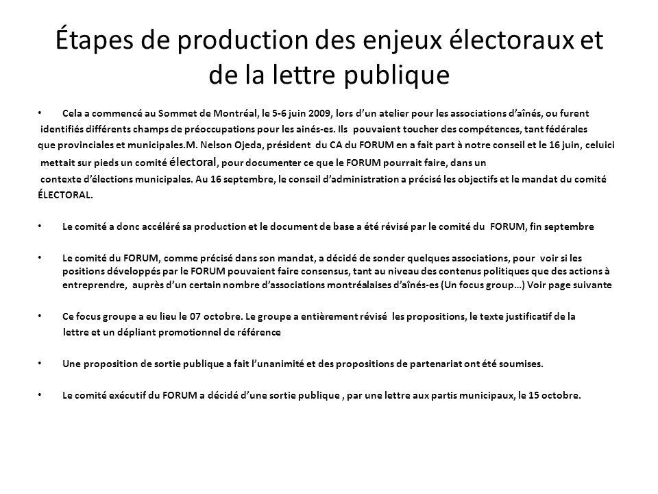 Étapes de production des enjeux électoraux et de la lettre publique Cela a commencé au Sommet de Montréal, le 5-6 juin 2009, lors dun atelier pour les