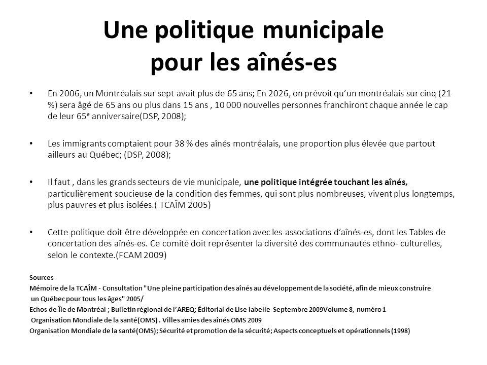 Une politique municipale pour les aînés-es En 2006, un Montréalais sur sept avait plus de 65 ans; En 2026, on prévoit quun montréalais sur cinq (21 %)