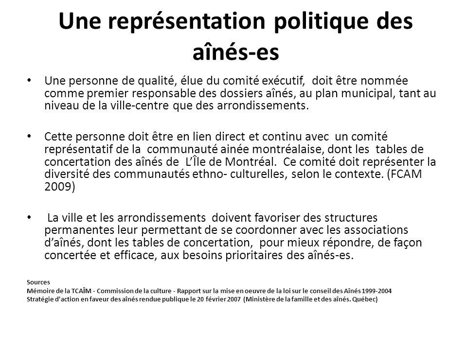 Une représentation politique des aînés-es Une personne de qualité, élue du comité exécutif, doit être nommée comme premier responsable des dossiers aî