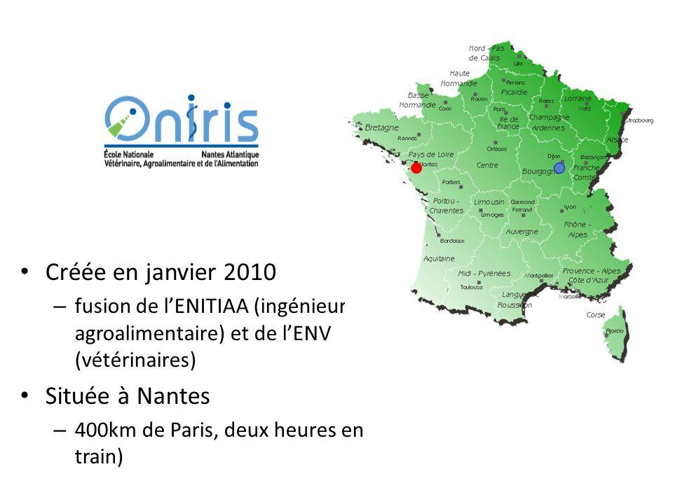 Créée en janvier 2010 – fusion de lENITIAA (ingénieur en agroalimentaire) et de lENV (vétérinaires) Située à Nantes – 400km de Paris, deux heures en train)