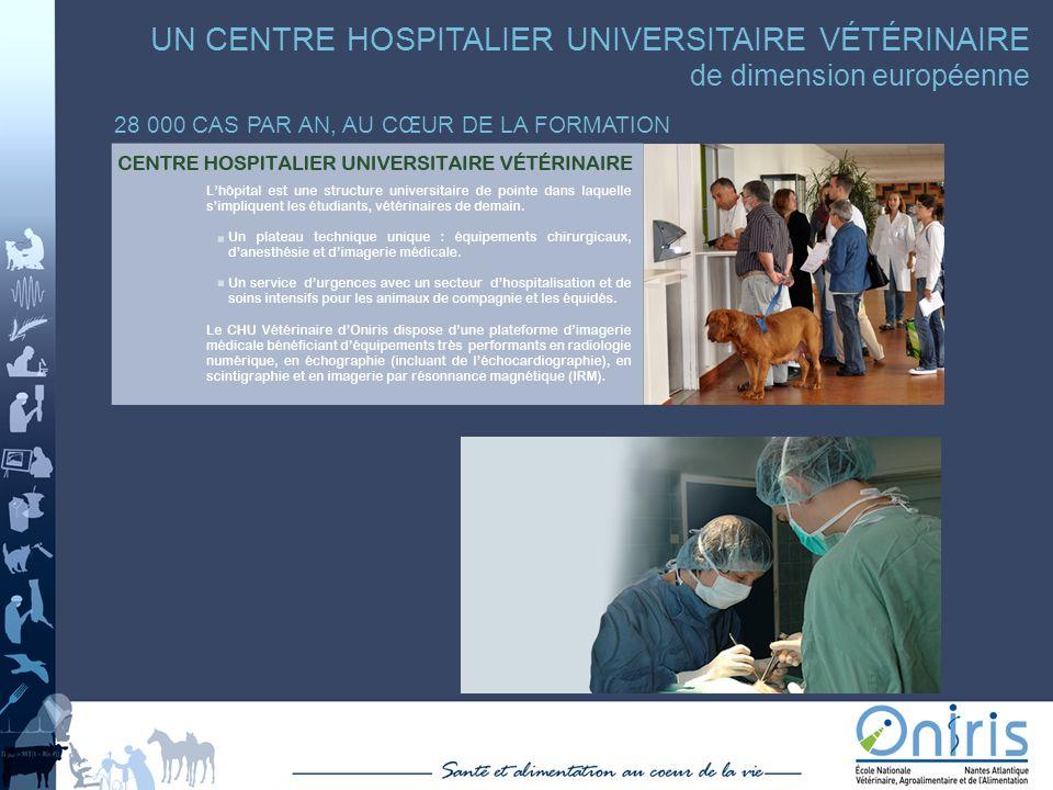 UN CENTRE HOSPITALIER UNIVERSITAIRE VÉTÉRINAIRE de dimension européenne 28 000 CAS PAR AN, AU CŒUR DE LA FORMATION