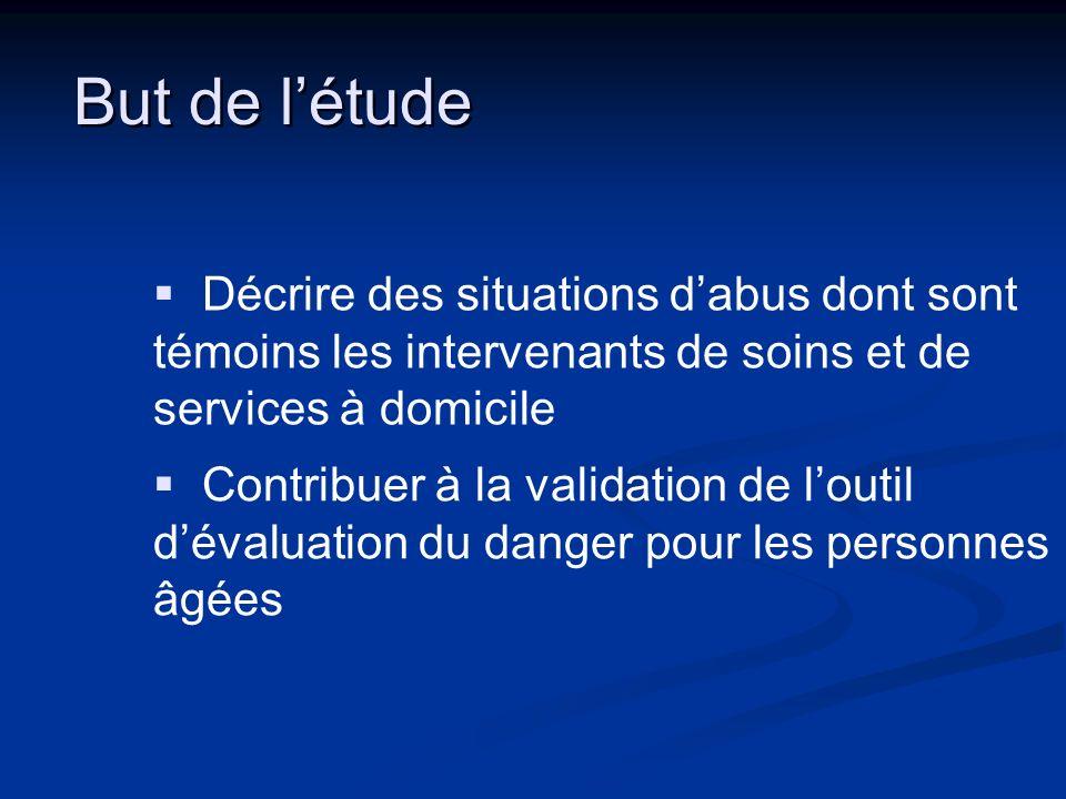 But de létude Décrire des situations dabus dont sont témoins les intervenants de soins et de services à domicile Contribuer à la validation de loutil